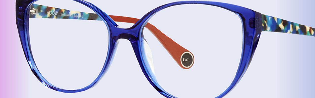 a pair of eyeglass frames with blue frames