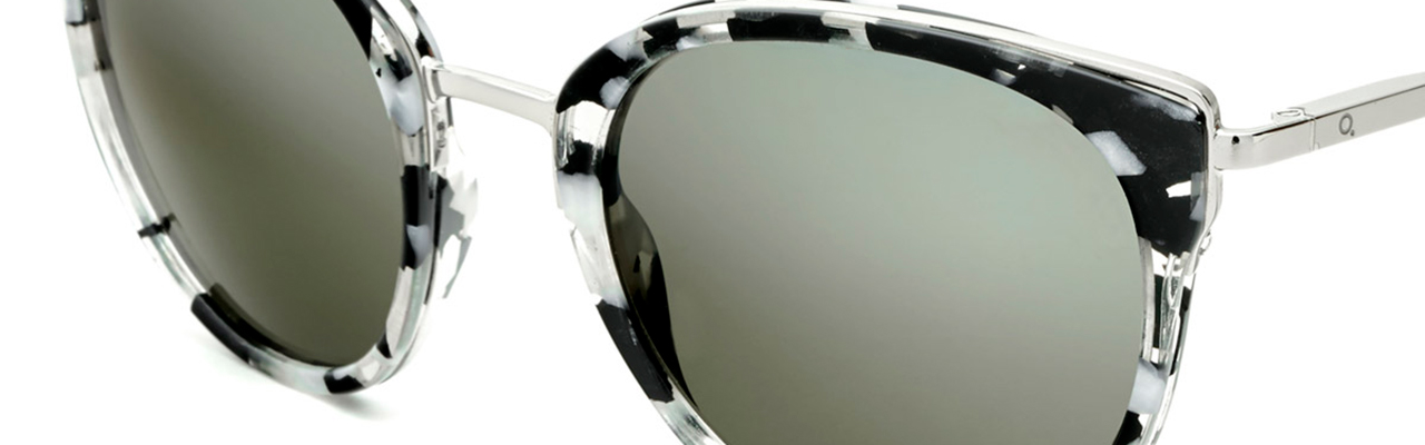 pair of sunglasses with frosted lenses and black-and-white pattern