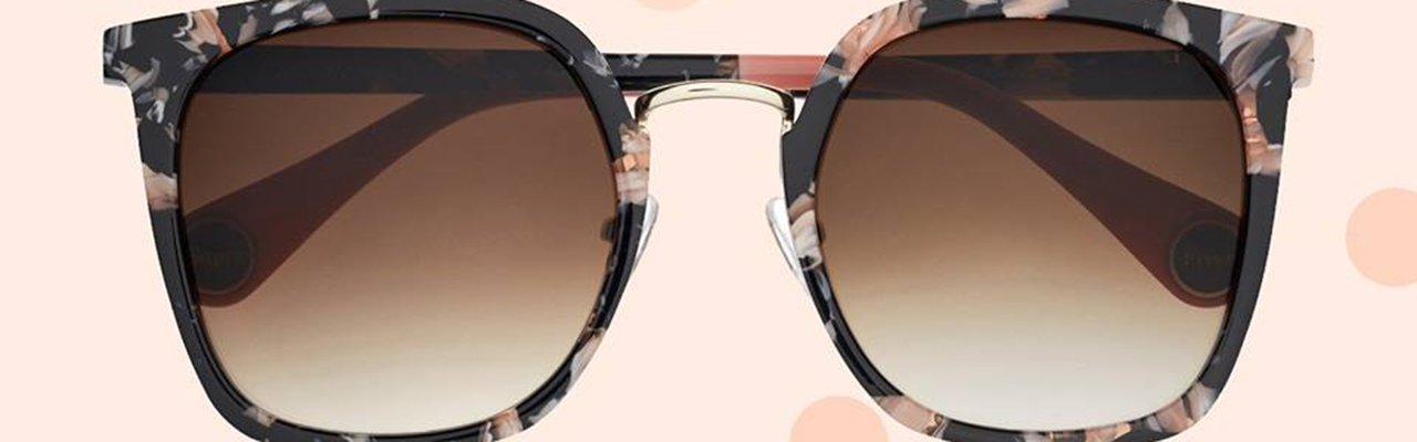 large sunglasses with a floral pattern on them